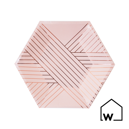 Small Pink Stripes & Rose Gold Foil Paper Plates