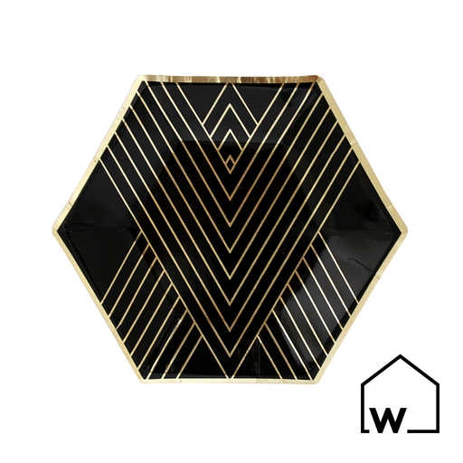 Small Black & Gold Foil Paper Plates
