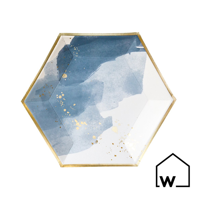 Small Blue & Gold Foil Paper Plates