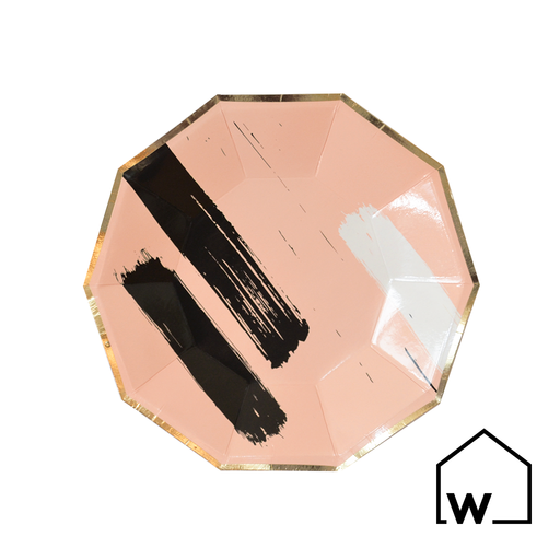 Small Brush Strokes & Rose Gold Foil Paper Plates