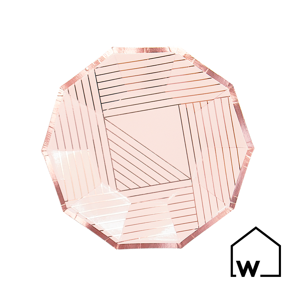 Small Pink & Rose Gold Foil Paper Plates