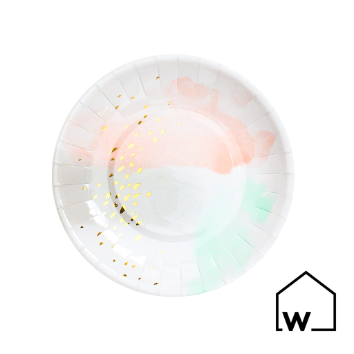 Small Watercolor & Gold Foil Paper Plates