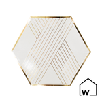 Small White & Gold Foil Paper Plates