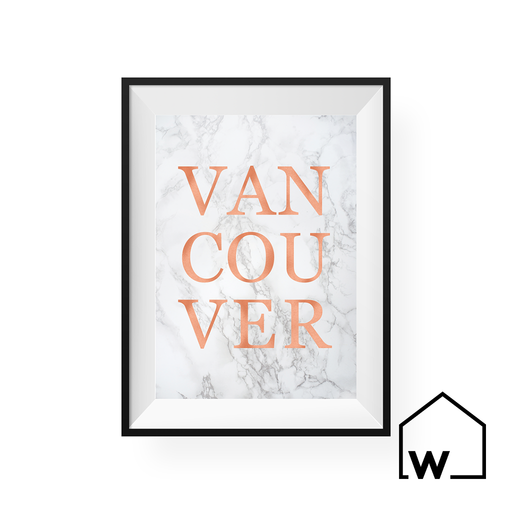"Marble & Rose Gold ""VANCOUVER"" Digital Art Print"