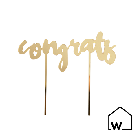 Congrats Gold Mirrored Cake Topper