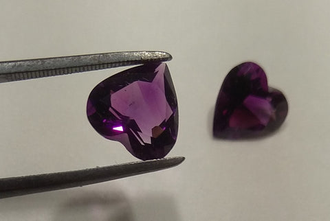 Pair of Deep Purple Heart Faceted Amethysts