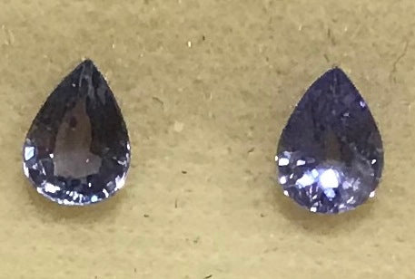 Natural Tanzanite Pair of Pear faceted gemstones