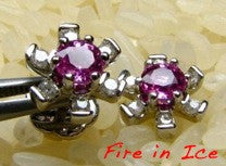 Pink Sapphire and Diamond stud earrings set in 18ct white gold.