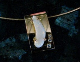 Opal and Diamond Pendant in 18ct Solid Yellow Gold, Handmade, boomerang shaped opal, with gold cable.