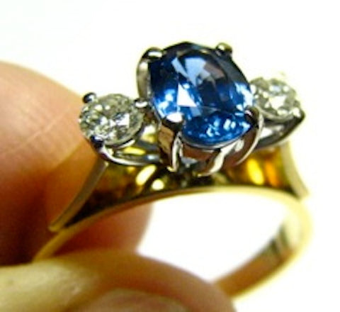 Vintage Natural Australian Sapphire and Diamond Engagement Ring