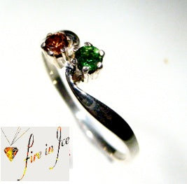 Natural Gemstone ring, green tourmaline and Australian zircon set in silver