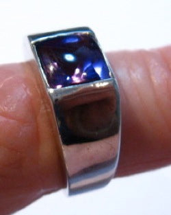 A Lovely Natural Amethyst ring set in sterling silver.
