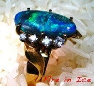 Vintage Solid Black Opal and Diamond Ring