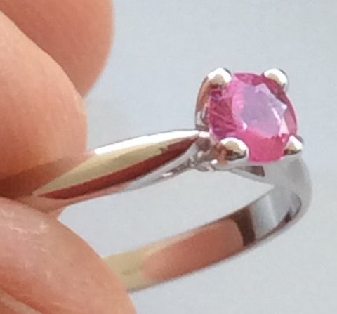 Natural Ruby set in a White Gold Ring
