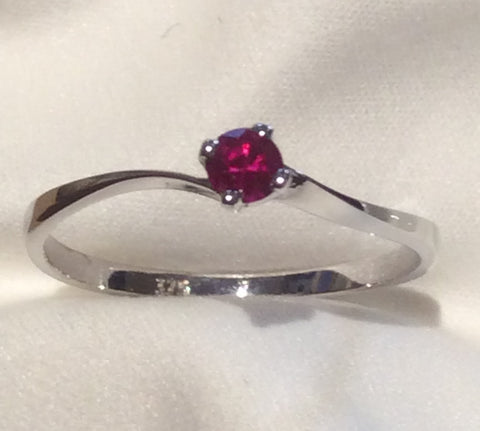 Natural Ruby set in a white gold ring.