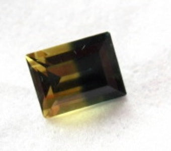 Australian parti-colour Sapphire, untreated natural gem custom faceted baguette.