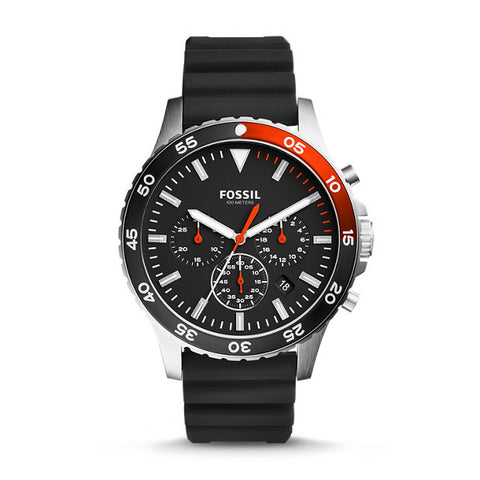 FOSSIL CREWMASTER SPORT CHRONOGRAPH BLACK SILICONE WATCH CH3057 - Ravoda Malaysia