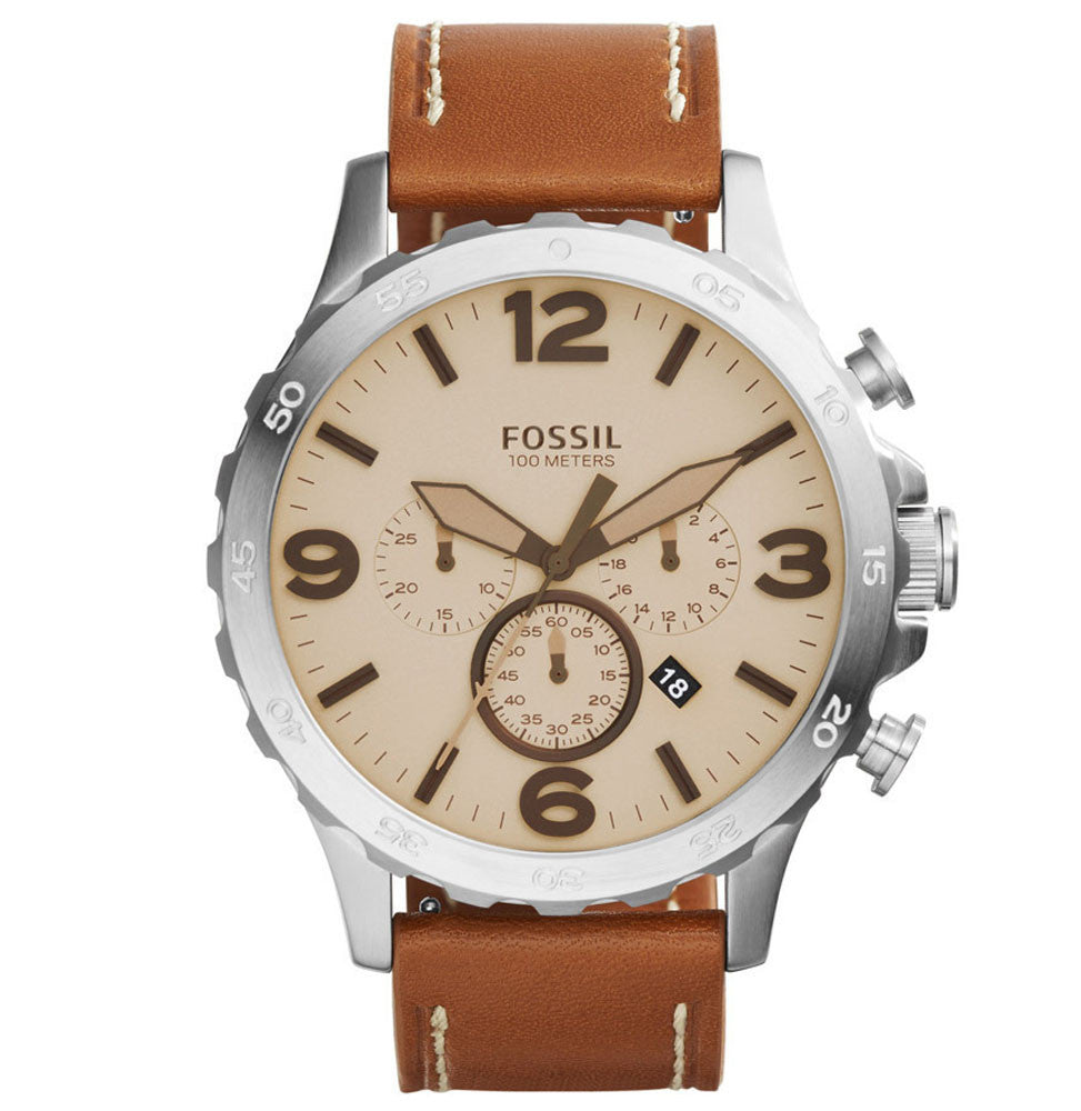 Fossil JR1503 Nate Chronograph Leather Watch - Ravoda Malaysia