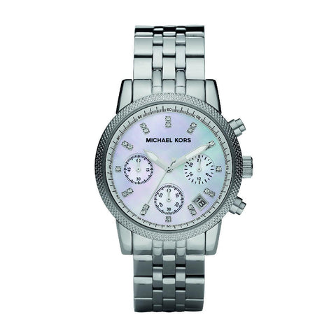 Michael Kors MK5020 Silver Chronograph with Stones Watch - Ravoda Malaysia