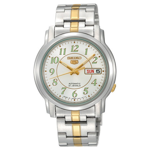 Seiko 5 Automatic Men's Watch with 2 Tone Bracelet and White Dial SNKL95K1