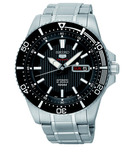 Seiko 5  Automatic Black Dial Stainless Steel Band Watch SRP553
