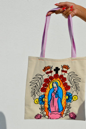 Virgin Mary Tote w/ Pink Straps