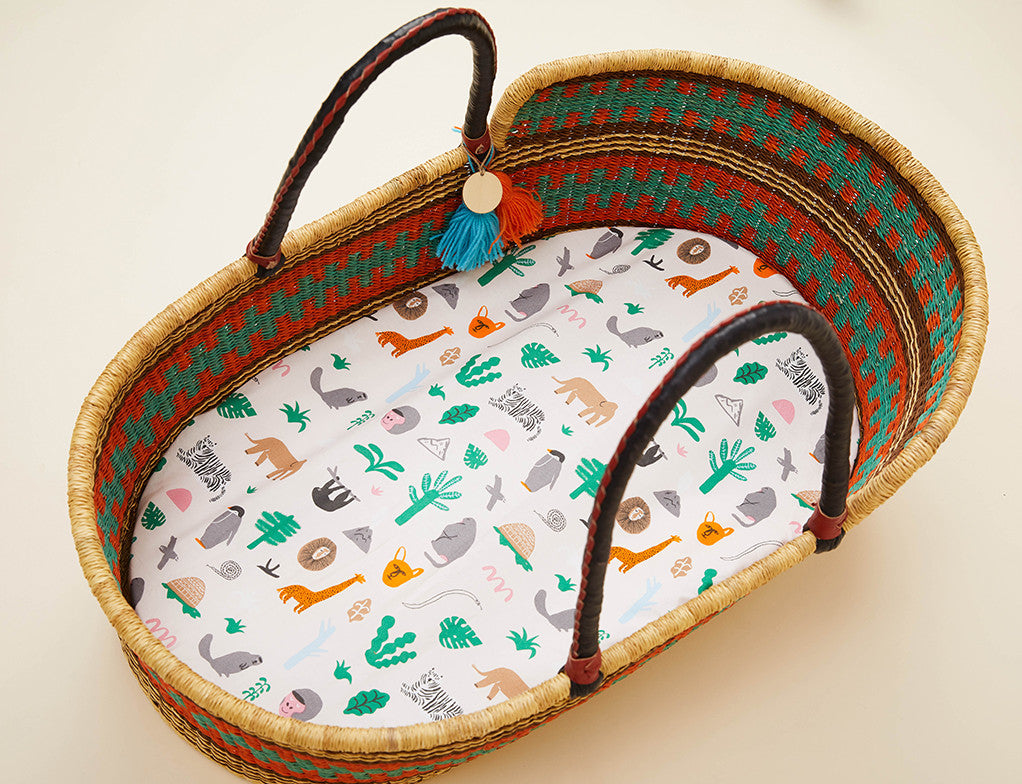 Fitted Bassinet Sheet - Jungle Party