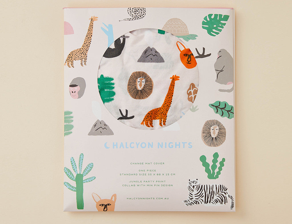 Jungle Party Change Mat Cover (Large Bassinet Sheet)