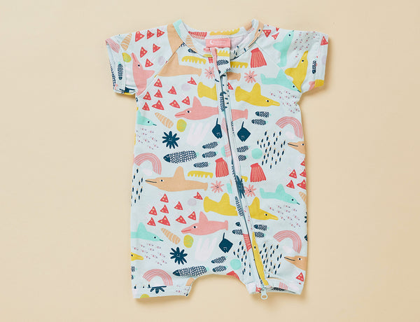 SHORT SLEEVE ZIP SUIT - SWIM TEAM