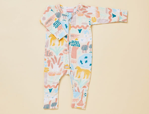 LONG SLEEVE ZIP SLEEPSUIT - SUNSET KAKADU