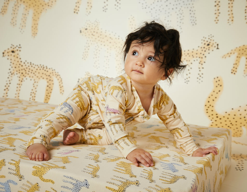 Fitted Cot Sheet ~ Katt Print Organic Cotton