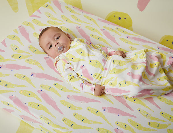 Fitted Cot Sheet ~ Lujv Birds ~ Organic Cotton