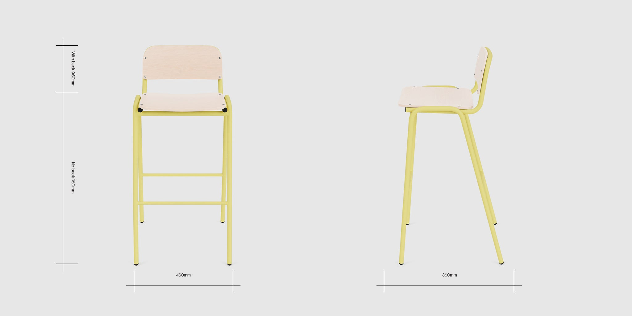 Jake High Stool With Back Dimensions