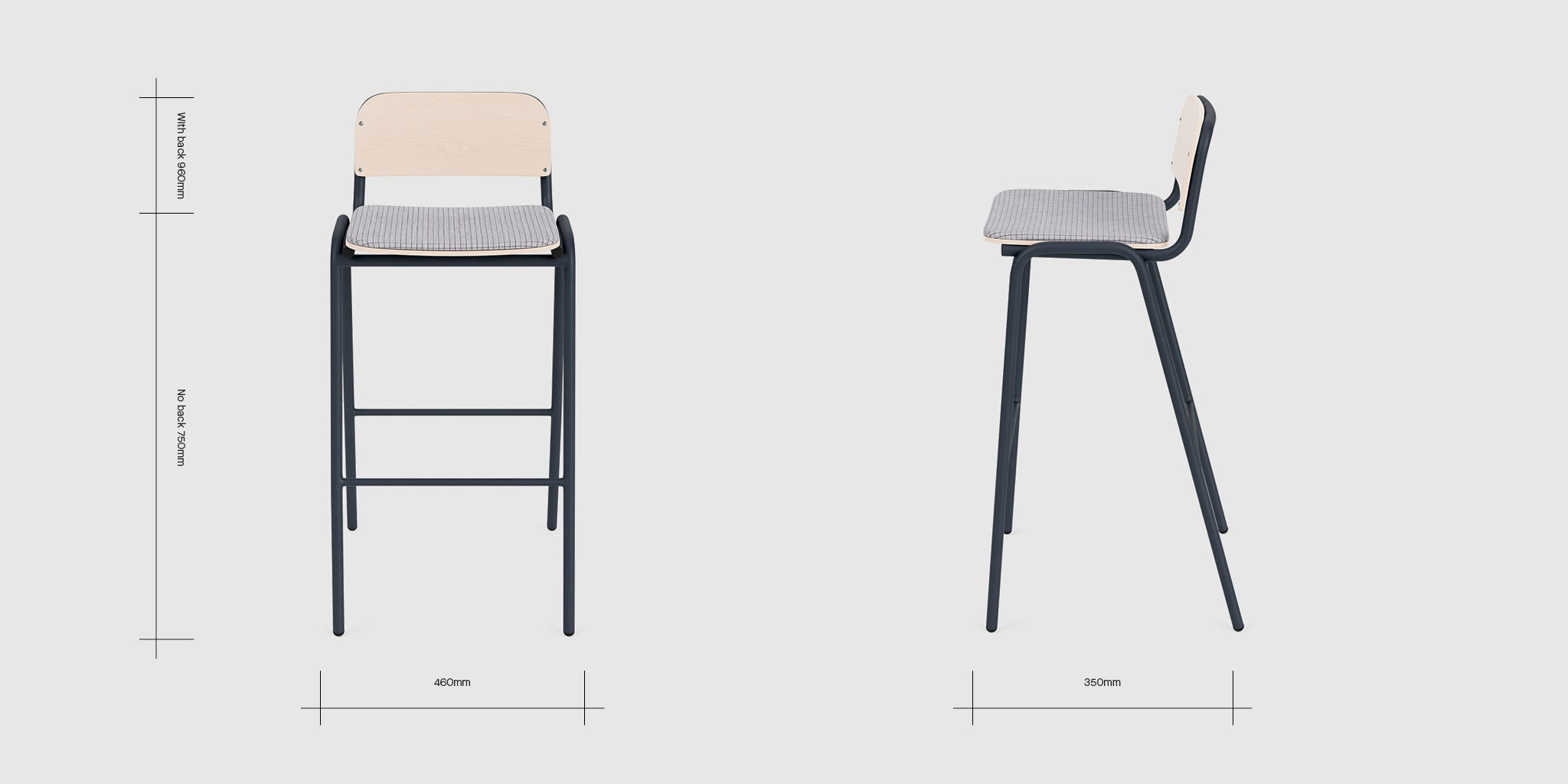 Jake High Stool Upholstered With Back Dimensions