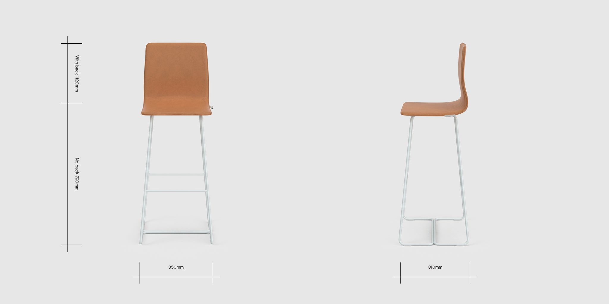 Sled Base High Bar Stool With Back Dimensions