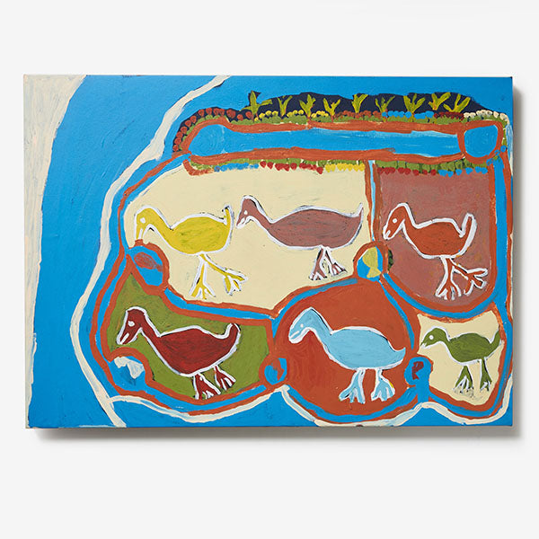 Galiwinku Christmas Exhibition - Six Birds and Waterhole Painting - Ruth Lularriwuy