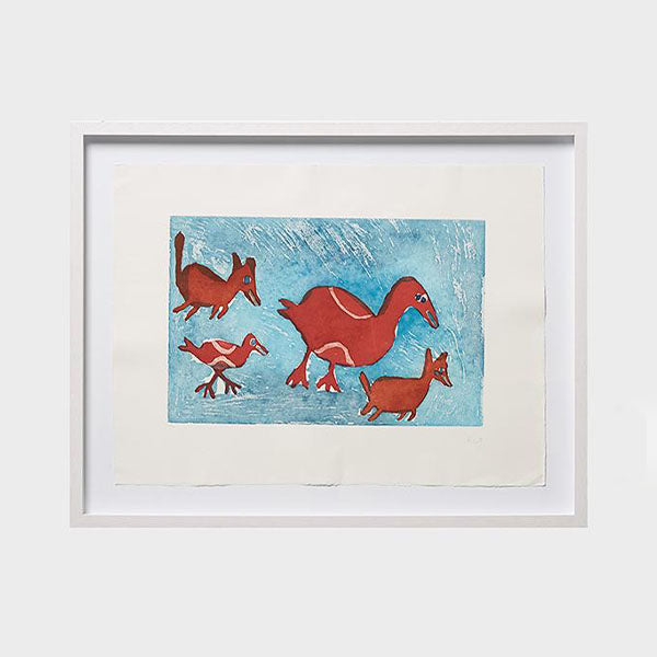 Galiwinku Christmas Exhibition - Birds and Dogs Print - Ruth Lularriwuy