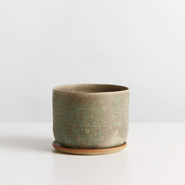 Planter and Saucer - Large - Wide - Moss Green