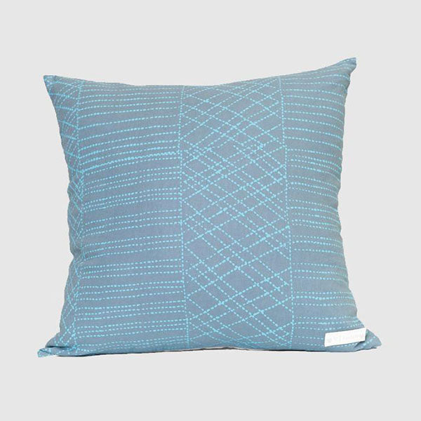 Cushion - Pauletta Kerinauia - Jilamara - Sky Blue on Grey