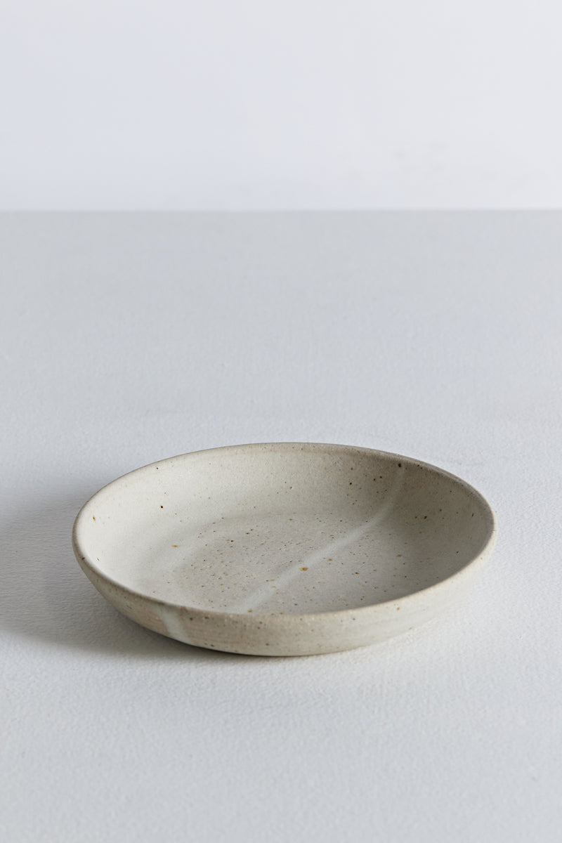 Shallow Pasta Bowl - Speckled White