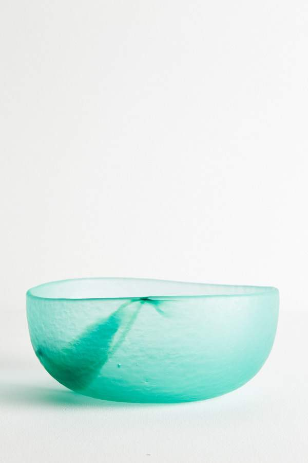 Glass Fruit Bowl - Teal