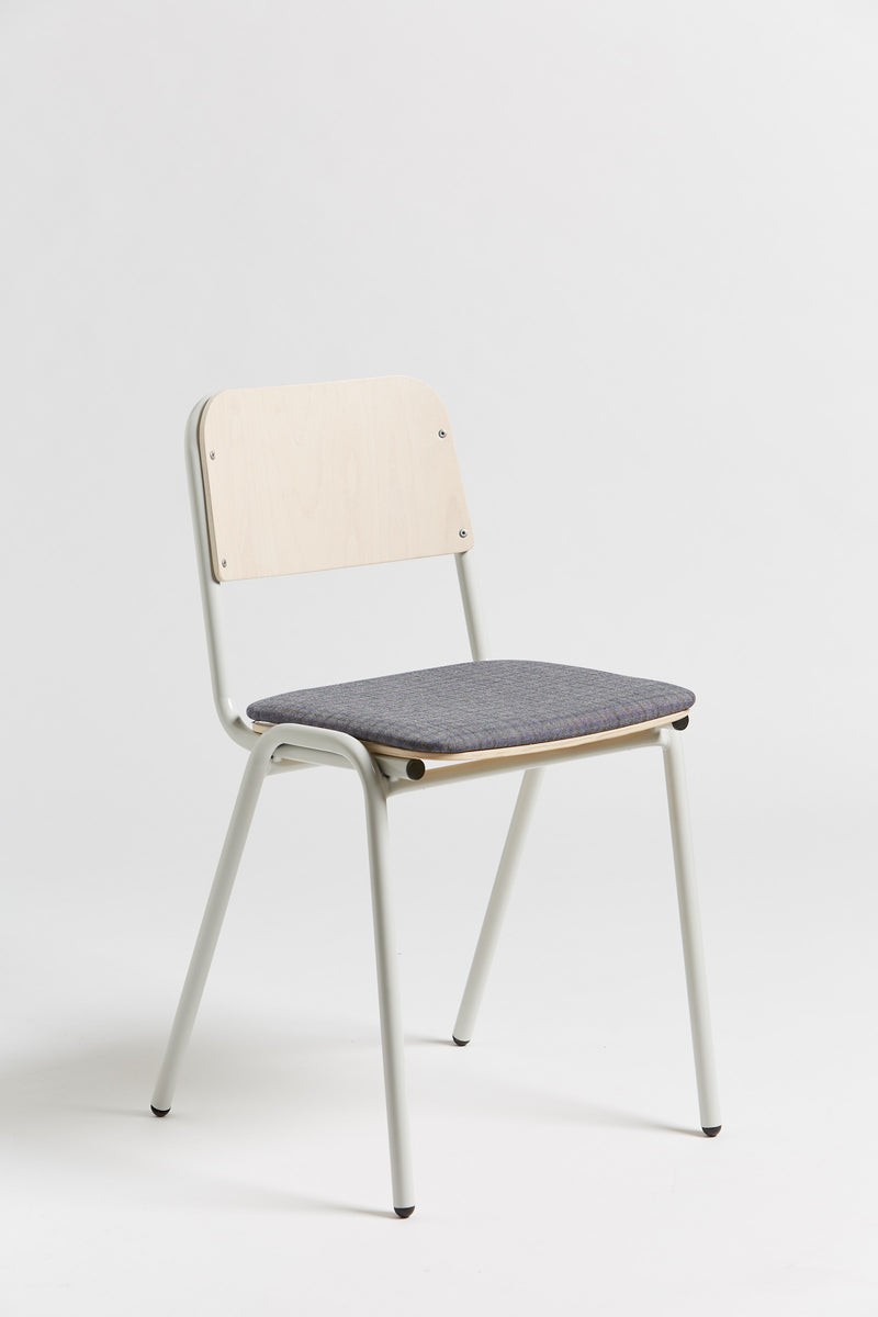 Jake Chair - Upholstered - Oyster Grey/Blue Check