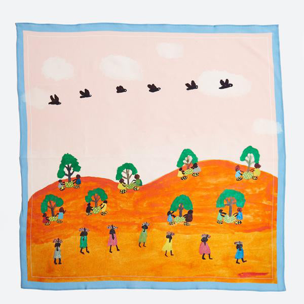 Tangentyere Silk Scarf - Women Collecting Bush Food