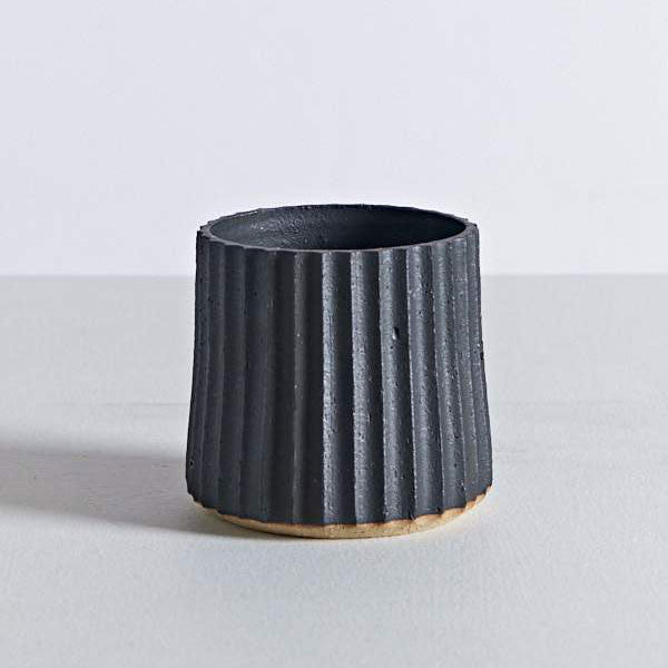 Pleated Planter - Matte Black