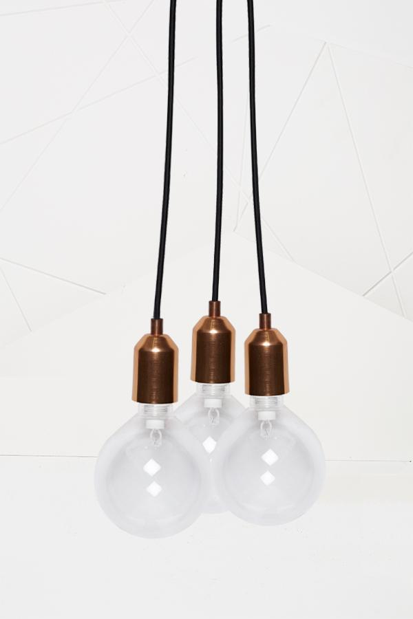Globe Light (no bulbs) |  Cluster of 3 | Linnished Copper
