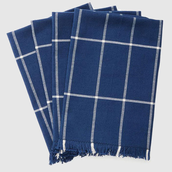 Indigo Grid Napkins, Set of 4
