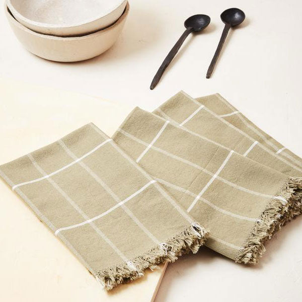 Sage Grid Napkins, Set of 4