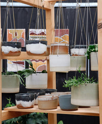 Leaf and Thread Stoneware Hanging Planter - Brass Basket - 3 - Desert - Medium