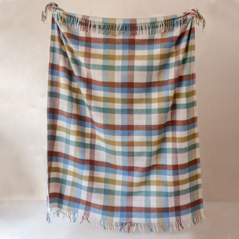 Recycled Wool Blanket - Rainbow Check