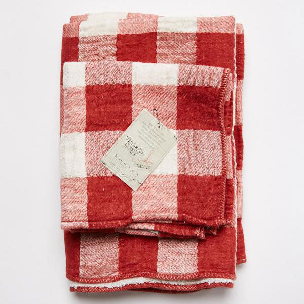 Face Washer - Vintage Check - Red